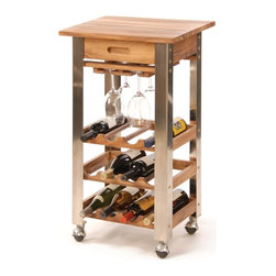 "Oenophilia - Kitchen Trolley - The only thing better than a handsome wine rack is one that moves! Constructed from sturdy Acacia wood and adorned with stainless steel posts it holds up to 12 bottles of wine 4-6 stems and can go anywhere on its heavy-duty casters. A drawer provides extra storage space for wine accoutrements. Requires assembly. Assembled: 33.25""H x 19.5""W x 15.75""D."