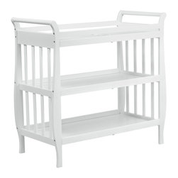 Da Vinci - Da Vinci Emily Changing Table II in White - Da Vinci - Baby Changing Tables - M4703WP - The newly redesigned Emily Changing Table complements the equally elegant Emily 4-in-1 Convertible Crib, exuding the same lasting charm and convenient functionality. Featuring an open shelf design, parents can keep baby�s necessities visible and accessible. The top changing station is thoughtfully constructed with an extra rail for added safety and support to change baby with ease. Beyond the diaper years, the included changer pad can easily be removed and the Emily Changing Table becomes a versatile piece that effortlessly meets your family's changing storage needs.