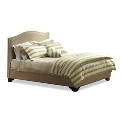 Lifestyle Solutions - Magnolia Bed, King - Upholstered in lush, cream-colored fabric, this bed is lavishly detailed including a headboard studded with brushed pewter nails, fully-upholstered footboard and side rails, and deep cappuccino wooden feet.