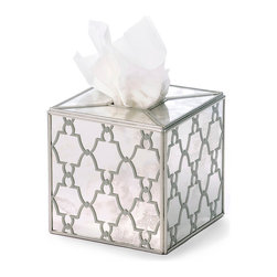 Jolie Tissue Box - Elegant mirrored accessories with dainty repeating patterns look exquisite in every room, and the Jolie Tissue Box in Silver is no exception to this traditional home d�cor rule.  Easily turning a necessity into a proud and opulent home accent, the square tissue box is covered completely in a Moroccan-inspired silver pattern of tiled lanterns giving definition to all-over reflective panels.  The glamor of the piece is instant and unmistakable.