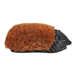 Esschert Design - Giant Hedgehog Boot Brush - Poor Hedgehog, always getting the boot. Actually, this one appears to enjoy the attention. Your new hedgehog boot brush will cheerfully get into one scrape after another, all while keeping his tough coconut fiber coat — and your boots and shoes — looking good.