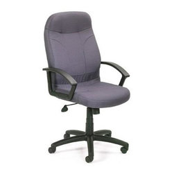 """BOSS Chair - High Back Desk Chair In Gray Fabric w Arms, W - Stylish and sophisticated high back swivel chair refreshes your office with a casual flair. Upholstered in soft, gray fabric, this chair is as comfortable and durable as it is stylish. Watch the long hours at your desk melt away as you sink into the chair's soft comfort and lean back on its contoured back rest. Adjust its height and tilt tension for the best posture. Passive ergonomic seating with built in lumbar support. Upright locking positions. Pneumatic gas lift seat height adjustment. Adjustable tilt tension control. Large 27"""" nylon base for greater stability. Hooded double wheel casters. Cushion color: Grey. Base/wood: Black. Seat size: 20 in. W x 20 in. D. Seat height: 18 in. -22 in. H. Arm height: 24.5 in. -28 in. H. Overall dimension: 27 in. W x 27 in. D x 42-46 in. H. Weight capacity: 250 lbs"""