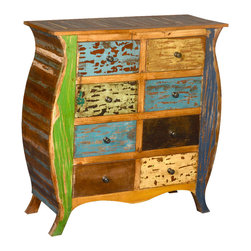 Sierra Living Concepts - Reclaimed Wood Bombe Chest Wonderland Rustic 8 Drawer Double Dresser - Alice would insist on our Reclaimed Wood Bombe Chest Wonderland Rustic 8 Drawer Double Dresser because it is eco-friendly and just plain fun.