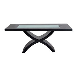71 Inch Rectangle Dining Table with Crackled Glass Inset and X-Shaped Base by Di