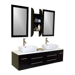 Fresca - Bellezza Espresso Double Vessel Sink Vanity Soana Brushed Nickel Faucet - This is our most popular vanity from the Fresca line.  Marble, real wood and ceramic make up this stunning piece usually installed in high end residences.  Double sinks make this perfect for a master bedroom, his and hers with equal amount of drawer space.  Very clean lines, no fuss, no extra frills make it easy for the homeowner to then spice up the rest of the bathroom.  Many faucet styles to choose from.