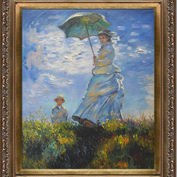 """overstockArt.com - Monet - Madame Monet and her Son Oil Painting - 20"""" x 24"""" Oil Painting On Canvas Hand painted oil reproduction of a famous Monet painting, Madame Monet and her Son. The original masterpiece was created in 1875. Today it has been carefully recreated detail-by-detail, color-by-color to near perfection. While Monet successfully captured life's reality in many of his works, his aim was to analyze the ever-changing nature of color and light. Known as the classic Impressionist, one can not help but have deep admiration for his talent. This work of art has the same emotions and beauty as the original. Why not grace your home with this reproduced masterpiece? It is sure to bring many admirers!"""