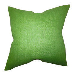 "The Pillow Collection - Ellery Solid Pillow Apple Green 18"" x 18"" - Glam up your living space with this elegant accent pillow. This accent piece features a bright apple green hue. This home accessory suits a variety of settings and themes. Coordinate with other patterns like geometric, floral, ikats and more. Crafted using 100% high-quality burlap material, this 18"" pillow is made in the USA."