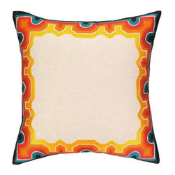 Trina Turk - Trina Turk Arcata Embroidered Pillow-Blue/Orange - The Blue/Orange Arcata Embroidered Pillow by Trina Turk is part of a line infused with bold signature prints and unique dynamic hues, Trina's modern and optimistic outlook meld the best of classic American design with a California confidence, incorporating beautiful fabrications and impeccable quality for the effortless elan and carefree glamour.