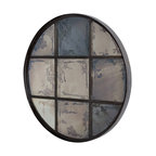 9 Pane Round Iron Mirror - Product Features: