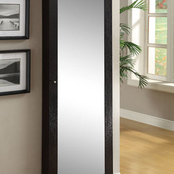 Coaster - Jewelry Cheval, Cappuccino - This dual-purpose mirror and jewelry armoire can securely attach to any wall. Finished in cappuccino with red felt-lining inside.