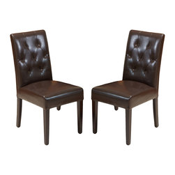 Great Deal Furniture - Waldon Leather Dining Chair, Set of 2, Brown - Warm welcome: Some chairs just seem to invite company. This is one such design. Crafted in natural hardwoods and leather with plush seating, these gems are tufted back to encourage delightful times over a meal. And should dinner extend into an evening affair, these chairs can do double duty as side chairs in your living room.