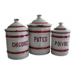 French Enamelware Canister - Stylish Set of 3 French enamelware canisters...Chicoree, Pates, and Poivre with red and gilt bands and red lettering on white background. From France. The general condition is good for the age, but there are the expected bumps and knocks in the enamel, leaving rust and a lovely time worn chippy look and are water tight.