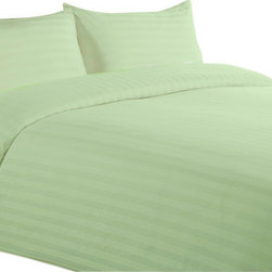 """Lasin Bedding - Cal King / King Size 100% Cotton Sheet Sets, Green, King, Stripe, 102"""" X 86"""" - Made of 100% high quality cotton, our bedding sets are soft and comfortable, just the way you need for a good night sleep. Our 5 star """"Hotel Collection"""" bedding sets includes one fitted sheet, one duvet cover and two pillow cases. Go classy with Lasin Bedding."""