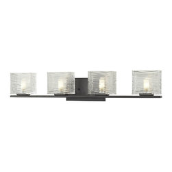 Z-Lite - Z-Lite Jaol 4 Light Vanity Light X-V4-6203 - Rectangular glass shades with horizontal textured lines soften the bright light of the Jaol vanity family. The flat arm design exudes a contemporary design finished in finely brushed nickel, rich bronze and highly polished chrome.
