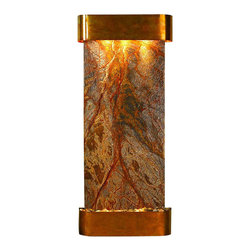Adagio Water Features - Inspiration Falls Wall Fountain, Rustic Copper, Brown Rainforest Marble, Rounded - Comes complete with polished river rock, halogen lighting, and electric pump.