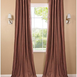 EFF - Red and Gold Hand-woven Cotton Curtain Panel - These woven cotton panels add a casual and warm look to any window. Drapes are tailored from the finest hand-loomed cotton blend,finished in subtle colors.