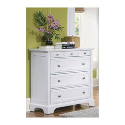 HomeStyles - Chest with 4 Drawers - Felt-lined top drawer especially good for jewelry. Made from poplar Asian hardwood and engineered wood. Rich white finish. Made in Indonesia. Top drawer: 28 in. W x 13 in. D x 2 in. H. Lower drawer: 28 in. W x 13 in. D x 6.5 in. H. Overall: 36 in. W x 16.5 in. D x 36 in. H. Assembly InstructionsA cottage inspired finish are the perfect package for bedroom furniture. Think outside the box and use the chest outside the bedroom to provide storage throughout the home as needed! Including a clear coat finish to help protect against wear and tear from normal use.