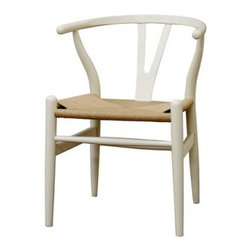 Baxton Studio Wishbone Chair - Ivory Wood Y Chair - Traditional and modern style coincide beautifully in the Baxton Studios Wishbone Chair - Ivory Wood Chair.The Wishbone Chair features a solid wood frame with natural hemp seat that provides durability. Inspired by mid-century design, the curved backrest is comfortable and gives this chair a modern twist. Use as an accent chair in your living room or as a dining chair.About Baxton StudiosThis item is designed and manufactured by Wholesale Interiors, Inc., a furniture company based near Chicago. A lot goes into the making of furniture, and it all starts with attention to details. They hand select their unique line of leather and micro-fiber fabrics. Their furniture is padded with high polyurethane foam to create the body contouring comfort and support for which Baxton Studios is famous. All frames are constructed of high quality wood or steel on select models, providing sturdy frame construction that exceeds industry standards. Wholesale Interiors, Inc. is committed to constantly providing stylish and unique furniture for the best value to help you create a comfortable living space with ease and confidence.