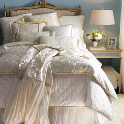 "Dian Austin Couture Home - Dian Austin Couture Home Damask Queen Duvet Cover, 90"" x 95"" - Woven in Italy of viscose/cotton/polyester. Dry clean. 90""W x 95""L. USA/imported."