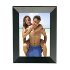 Lawrence Frames - Black Wood 5x7 Picture Frame - Gorgeous contemporary angled black wood picture frame.  High quality black wood backing with an easel for vertical or horizontal table top display, and hangers for vertical or horizontal wall mounting.    Hand finished 5x7 wood picture frame is made with exceptional workmanship and comes individually boxed.