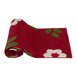 "Tag Ltd. - Nordic Holiday Collection Table Runner 72"" - Hand cut, hand appliqued and hand embroidered. Wood felt. Dry clean only. Rolled and tired with dyed-to-match dark red twill tape."