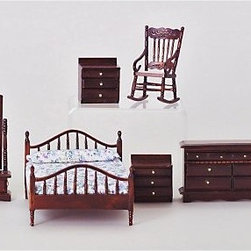 Mahogany Master Bedroom Dollhouse Miniature Set - The Mahogany Master Bedroom Dollhouse Miniature Set will lend your traditional-style dollhouse an air of understated elegance. Simple and classic, this 6-piece set on a 1-inch scale boasts clean lines, stately molding, and brass finish hardware. It includes a double bed with headboard and footboard, full-length tilting mirror, two bedside tables, lowboy dresser, and rocking chair. Crafted from beautifully carved, durable wood, these pieces feature a deep, rich Mahogany finish. Floral print bed linens complete the look. This exquisite set is suitable for use in collector dollhouses. As it includes small pieces, it's not recommended for children under 13.