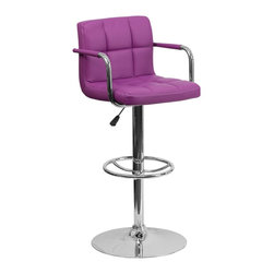 Flash Furniture - Flash Furniture Barstools Residential Barstools X-GG-RUP-920201-HC - This sleek dual purpose stool easily adjusts from counter to bar height. The simple design allows it to seamlessly accent any area in the home. Not only is this stool stylish, but very comfortable to provide you with an amazing sitting experience! The easy to clean vinyl upholstery is an added bonus when stool is used regularly. The height adjustable swivel seat adjusts from counter to bar height with the handle located below the seat. The chrome footrest supports your feet while also providing a contemporary chic design. [CH-102029-PUR-GG]