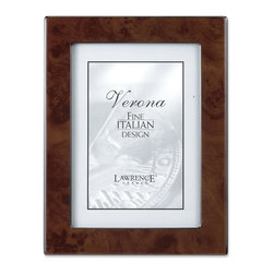 Lawrence Frames - Walnut Faux Burl 8x10 Picture Frame - Polished Lustrous Finish - Elegant walnut burl design picture frame has a brilliant polished finish.  Sides are trimmed in polished black which gives this frame a very tailored look.  Backs are fitted with high quality black composite backing.  Can be used vertically or horizontally for tabletop display, or wall mounted vertically or horizontally with included hangers.  Individually boxed.