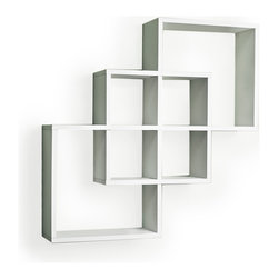 "Danya B. - Intersecting Squares Decorative Wall Shelf, White - Decorative wall shelves show 3 boxes that intersect and connect with each other creating a geometric pattern with 6 openings. Hidden perforations secure to nails or screws, and allow for the piece to be hung either vertically or horizontally.  With its contemporary  finish, it is the ideal accent for any living space. Made of laminated MDF, it attaches to the wall with two keyhole perforations in the back, which secure to nails or screws showing no visible hardware.  Minor assembly required.  Color: Black or White.  Measures 23.5 x 5 x 23.5"".  Weight capacity: 16lbs. Made in China"