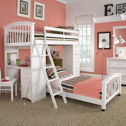 Ne Kids - NE Kids School House Student Loft Bed - White - 7080-LOFT - Shop for Bunk Beds from Hayneedle.com! The Schoolhouse Student Loft Bed - White will facilitate the blossoming of brilliant young minds. This piece is made from solid hardwood beyond tough and the fabulous white finish will illuminate every inch of the room with its beauty. Featured are interchangeable desk and storage chest ends granting this bed unique versatility of use and customization for your convenience. The desk may be installed facing inward or outward to suit either individual tastes or spatial restrictions. The ladder and guardrail are also interchangeable to meet your individual needs. Optional is a lower bed to accommodate a sibling or guest. This loft measures 80L x 42W x 67.75H inches. The lower bed measures 80.75L x 42W x 24H inches. We take your family's safety seriously. That's why all of our bunk beds come with a bunkie board slat pack or metal grid support system. These provide complete mattress support and secure the mattress within the bunk bed frame. Please note: CPSC recommends the tops of the guardrails must be no less than 5 inches above the top of the mattress and that top bunks not be used for children under 6 years of age. About New Energy KidsNE Kids is a company with a mission: to establish and import truly unique furniture for your child. For over thirty years they've been accomplishing this mission with flying colors one room at a time. Not only will these products look fabulous they will provide perfect safety for your children by adhering to the highest standards set by the American Society for Testing and Material and the Consumer Products Safety Commission. Your kids are in the best of hands and everyone will appreciate these high-quality one-of-a-kind pieces for years to come.