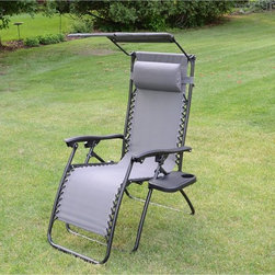None - Styled Shopping Deluxe Zero Gravity Grey Chair with Canopy and Tray - Enjoy this deluxe relaxing recliner in your yard or on your patio with an included canopy and detachable side drink tray. Its NASA-recognized zero gravity design help create additional support,reducing stress and relieving muscle tension.