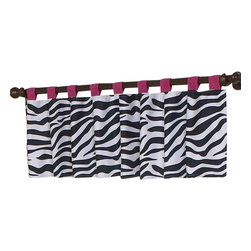 Sweet Jojo Designs - Pink Zebra Window Valance - The Zebra Pink Window Valance will help complete the look of your Sweet Jojo Designs room. This valance softens the look of the window and obscures pulled up blinds. It will coordinate nicely with your Sweet Jojo Designs bedding or can be used as an accent with your own room design.