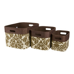 Enchante Accessories Inc - Printed Canvas Storage Bins with Handles Nesting (Set of 3), Brown - Set of 3 Open top Storage Bins