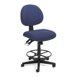 OFM - OFM 24-Hour Task Chair with Drafting Kit in Blue - OFM - Drafting Chairs - 241DK202 - You'll enjoy long-term support with OFM's 241 Series 24-Hour/Multi-Shift Task Stool. Designed for 24-hour use this stylish stool includes 7 different adjustable