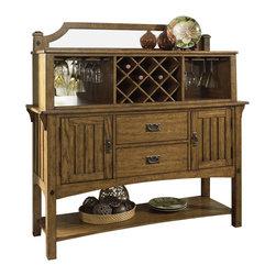 Somerton - Somerton Craftsman Server with Hutch in Brown - Craftsman Collection