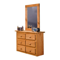 Chelsea Home - Mini 6-Drawer Dresser with Mirror - Rustic style. Drawers mounted on rolling metal glide for easy opening and closing. Thicker and more durable wood. Mirror thickness: 2 in.. Constructed for strength and durability. Warranty: One year. Made from solid pine wood. Ginger stain finish. Made in USA. No assembly required. Mirror: 27 in. W x 39 in. H (20 lbs.). Drawer: 12 in. W x 12 in. D x 4.5 in. H. Dresser: 39 in. W x 16 in. D x 31 in. H (95 lbs.). Overall: 39 in. W x 16 in. D x 70 in. H (115 lbs.)