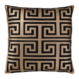 "Z Gallerie - Mykonos Pillow 24"" - Twisting back onto itself like the pattern's namesake River Meander, our Mykonos Pillow is as stately as decoratively distinctive. The Greek key design takes center stage with its careful fretwork applique, mimicking butter soft leather in a rich black hue atop a crisp white backdrop. The generously sized 24 inch square pillow is filled with a sumptuous feather and down insert and a hidden zipper."