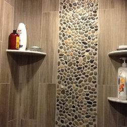 Glazed Bali Ocean Pebble Tile Shower Wall Accent -