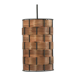 Kenroy Home - Kenroy Home 92045 Shaker Single-Light Mini Pendant in Dark Woven Wood Finish - Kenroy Home 92045 Shaker Single-Light Mini Pendant in Dark Woven Wood FinishA chunky basket weave with a rich wood grained glow form this stunningly simple and elegant drum pendant. Delicate real wood strips thread around a sturdy metal frame.Kenroy Home 92045 Features: