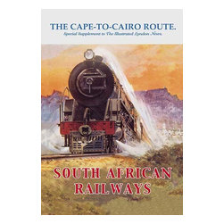 Buyenlarge.com, Inc. - Cape to Cairo Route - South African Railways- Gallery Wrapped Canvas Art - Traversing the Varied Landscape from the Cape of Good Hope in South Africa to Cairo Egypt, the train cuts through both Desert and Savannah