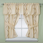 Croscill - Croscill Dante Champagne Bathroom Window Curtain Pair - These elegant, embroidered bathroom window curtains have a wavy gold and white striping pattern on a champagne colored background that provides motion and interest for your decor.