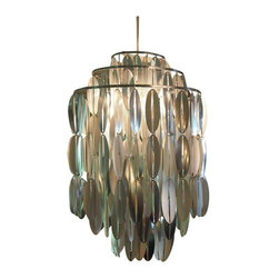 "Pre-owned Italian Mid-Century One-light Chandelier - This Italian Mid-Century chandelier has three metal tiers dripping with pierced oval silver toned forms surrounding one bulb. The ""leaves"" catch movement in the room like the gentle movement of wind in trees. They also kind of look like coffee beans, and like coffee, this light will give you that buzz, buzz, buzz. It is re-wired and ready to use. We recommend putting in the dining room or entryway."