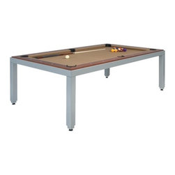"""fusiontables by Aramith - Fusiontables Powder Coated Steel Pool Table - Introducing fusiontables from Aramith - a new dimension in the dining room, board room, recreational room, conference room, media room, or game room. This stylish and unique pool table also doubles as a dining table or conference table. This set also includes the matching Fusion Bench and Fusion Stool. Features: -Please note: Pool Table delivery does not include assembly or installation -Premium multifunctional dining, pool, or conference table. -4 1/2"""" Thick horizontal platform hides quality slate pool table with all its accessories. -Includes complete Crown Standard Accessory Kit. -Set is available with matching benches or stools. -Unique steel easy-assembly frame allows the use of a one-piece 3/4"""" monobed slate, which is delivered pre-fitted with Velocity PRO cloth matching the pre-fitted rails. -No need to level a 3-piece slate or fit cloth on slate and rails means quick & easy installation. -Overall table dimensions: 90 1/2"""" L x 52 3/4"""" W x 29 1/2"""" H. -25 1/8"""" From floor to underneath table. -Table construction: veneered wooden structure with steel backing, and corresponding table tops and pool table rails. RECOMMENDED ROOM SIZE Optimal Room SizeMinimum Room Size 15'10"""" L x 12'8"""" W13'9"""" L x 10'8"""" W Optional Fusion Bench Features: -2 Micro-fiber leather options. -Micro-fiber cushions. -Coated aluminum legs. -78 3/4"""" L x 16 1/2"""" W x 17 3/4"""" H. Optional Fusion Stool Features: -2 Micro-fiber leather options. -Micro-fiber cushions. -Coated aluminum legs. -17 3/4"""" L x 16 1/2"""" W x 17 3/4"""" H. Crown Standard Accessory Kit (Included): -1 Aramith Crown Standard pool ball set. -1 Bottle of Aramith ball cleaner. -1 Aramith Micro Fiber Cleaning Cloth. -1 Wooden triangle ball rack. -4 two-piece pool cues, 1 two-piece bridge stick & bridge head. -1 Wooden six-cue rack & 1 Cue repair kit. -4 Aramith chalks, 1 10 1/2"""" pool table brush, & 1 official rule book. Easy-Lift System -Spring-assisted easy-lift syste"""