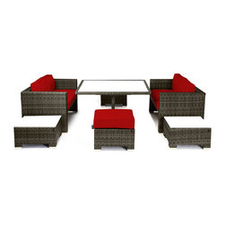 Reef Rattan - Reef Rattan Camina 7 Pc Cube Love Seat Dining Set - Natural Rattan / Red Cushion - Reef Rattan Camina 7 Pc Cube Love Seat Dining Set - Natural Rattan / Red Cushions. This patio set is made from all-weather resin wicker and produced to fulfill your needs for high quality. The resin wicker in this patio set won't fade, shrink, lose its strength, or snap. UV resistant and water resistant, this patio set is durable and easy to maintain. A rust-free powder-coated aluminum frame provides strength to withstand years of use. Sunbrella fabrics on patio furniture lends you the sophistication of a five star hotel, right in your outdoor living space, featuring industry leading Sunbrella fabrics. Designed to reflect that ultra-chic look, and with superior resistance to the elements in a variety of climates, the series stands for comfort, class, and constancy. Recreating the poolside high end feel of an upmarket hotel for outdoor living in a residence or commercial space is easy with this patio furniture. After all, you want a set of patio furniture that's going to look great, and do so for the long-term. The canvas-like fabrics which are designed by Sunbrella utilize the latest synthetic fiber technology are engineered to resist stains and UV fading. This is patio furniture that is made to endure, along with the classic look they represent. When you're creating a comfortable and stylish outdoor room, you're looking for the best quality at a price that makes sense. Resin wicker looks like natural wicker but is made of synthetic polyethylene fiber. Resin wicker is durable & easy to maintain and resistant against the elements. UV Resistant Wicker. Welded aluminum frame is nearly in-destructible and rust free. Stain resistant sunbrella cushions are double-stitched for strength and are fully machine washable. Removable covers made with commercial grade zippers. Tables include tempered glass top. 5 year warranty on this product. PLEASE NOTE: Throw pillows are NOT include