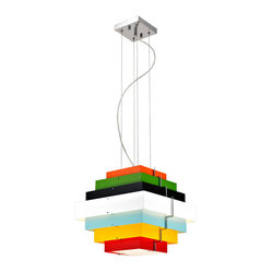Bromi Design Onyx Multicolor Square Lighting Pendant