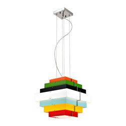 Bromi Design - Bromi Design Onyx Multicolor Square Lighting Pendant - Lighting shouldn't be boring. This dare-to-be-different pendant will bring child-like wonder to your space. It's different and fun and modern. But not boring.
