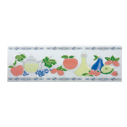Renovators Supply - Wall Tiles Off White Ceramic Wall Tile & Borders | 13352 - This traditional motif features summer fruit on an off-white background with a glossy glazed finish. The slightly raised relief offers some depth to the tile. Ceramic is easy to clean and lasts for generations. Measures 3 in h x 10 in. l.