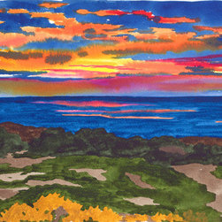 """Mexican Sunset"" (Original) By Annie Horkan - I Often Spent The Winter In A Small Fishing Village In Mexico Called Todos Santos. It Was A Ritual To Head For The Beach In The Evening To Watch The Sunset. What Can I Say....This Setting Of The Sun Was Especially Spectacular Over The Ocean."