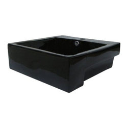 """Kingston Brass - Concord Black China Vessel Bathroom Sink with Overflow Hole EV4034K - This countertop wash basin is made from the finest vitreous china in black for durability and long-lasting use. The inner surface of the basin descends into a curve to the drain hole.  The rectangular shape of the sink is 4-3/8"""" in depth with a spacious 17-5/8"""" length and width.  The sink features a faucet deck with a single-faucet hole drilled in the center.Manufacturer: Kingston BrassModel: EV4034KUPC: 663370084515Product Name: Black China Vessel Bathroom Sink with Overflow Hole Collection / Series: ConcordFinish: BlackTheme: Contemporary / ModernMaterial: CeramicType: SinkFeatures: Recess/Wall mount installation"""