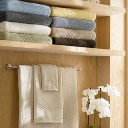 Luxor Linens - Valentino Spa Towels, 18pc, White - From our Valentino Collection comes the Hotel Spa line. Distinctive jacquard checker border design as used on the Queen Mary 2 Luxury Ocean Liner and 5-star Hotels. 3 Piece : 1 bath towel, 1 hand, and 1 wash. 6 Piece : 2 bath towels, 2 hand, and 2 wash. 12 Piece : 4 bath towels, 4 hand, and 4 wash. 18 Piece : 6 bath towels, 6 hand, and 6 wash. 750 gsm. Machine wash and dry. Over Sized and Heavy weight. Towels become softer with each washing. Imported.